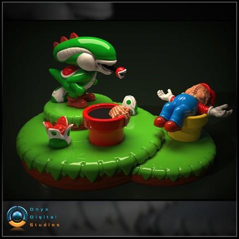 Download 3D printing designs Yoshi Aliens Mashup Diorama, OnyxDigitalStudios