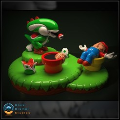 Download 3D printing designs Yoshi Aliens Mashup Diorama, OnyxDigitalStudios