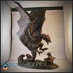 Descargar archivos STL Diorama de dragón basado en Rathalos de monster hunter, OnyxDigitalStudios