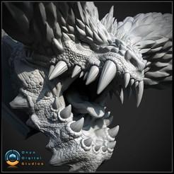 Télécharger modèle 3D Tête de chasseur de monstre imprimable 3D - Nergigante modèle d'impression 3D, OnyxDigitalStudios