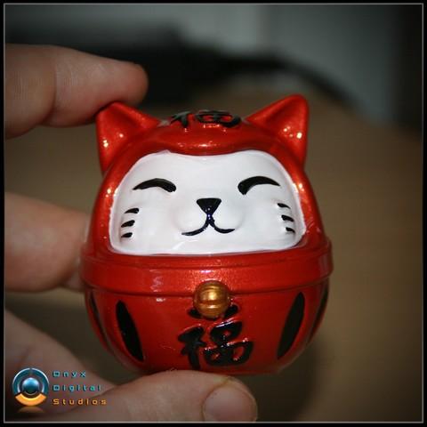 Download 3D printer templates Daruma - Cat, OnyxDigitalStudios