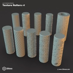 STL files Texture Rollers #1, 3DHexes