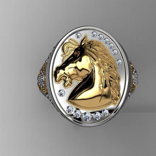 4.jpg Télécharger fichier STL gratuit 3d tête-cheval-signet-anneau • Objet pour imprimante 3D, poorveshmistry
