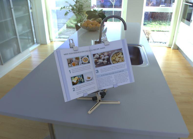 3.JPG Download free STL file Recipe book / iPad / tablet holder • Design to 3D print, poorveshmistry
