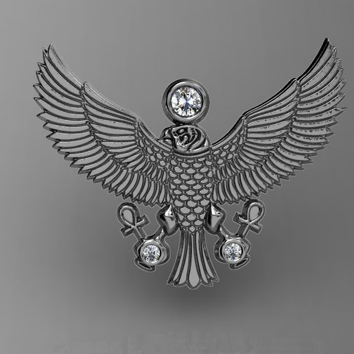 Télécharger fichier STL gratuit 3d egyptian-eagle pendent • Modèle pour imprimante 3D, poorveshmistry