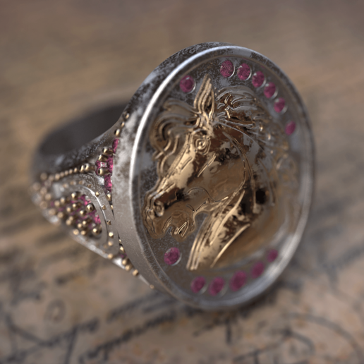 HorseHead_signet_ring_shot2.249.png Télécharger fichier STL gratuit 3d tête-cheval-signet-anneau • Objet pour imprimante 3D, poorveshmistry