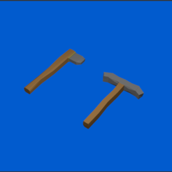 Modèle 3D Axe And Pickaxe Low poly, CapitainHippo