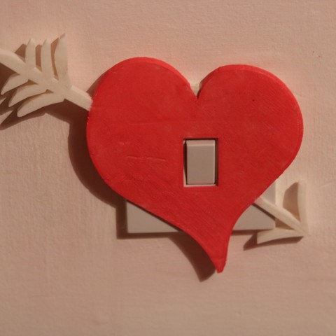 Download 3D printing models Heart arrow light switch cover, M3DPrint
