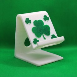 Shamrock phone stand pic 1.jpg Download STL file Shamrock phone stand • Model to 3D print, M3DPrint