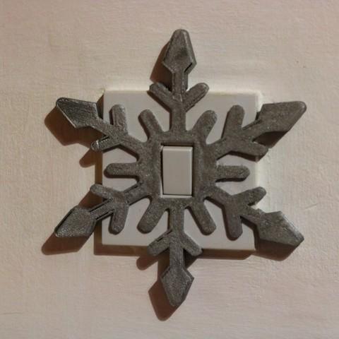 3D printing model Snowflake light switch cover, M3D-Print