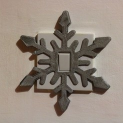 3D printing model Snowflake light switch cover, M3D-Print