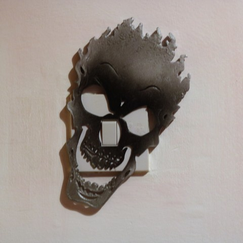 Download 3D printing templates Fire skull light switch cover, M3DPrint