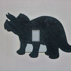 Download STL file triceratops lightswitch cover, M3DPrint