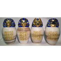 all-four-painted.jpg Download STL file Ancient Egyptian Canopic Jars • 3D printer object, voxinaudita