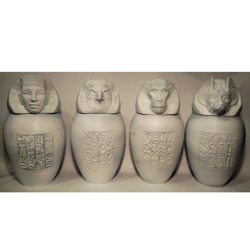 all-four-unpainted.jpg Download STL file Ancient Egyptian Canopic Jars • 3D printer object, voxinaudita
