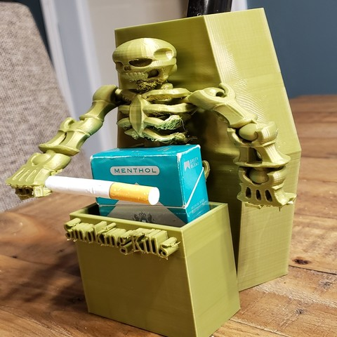 20190404_203827.jpg Download free STL file #XYZCHALLENGE Smoking Kills Cigarette Pack Holder • 3D printable template, ED2014