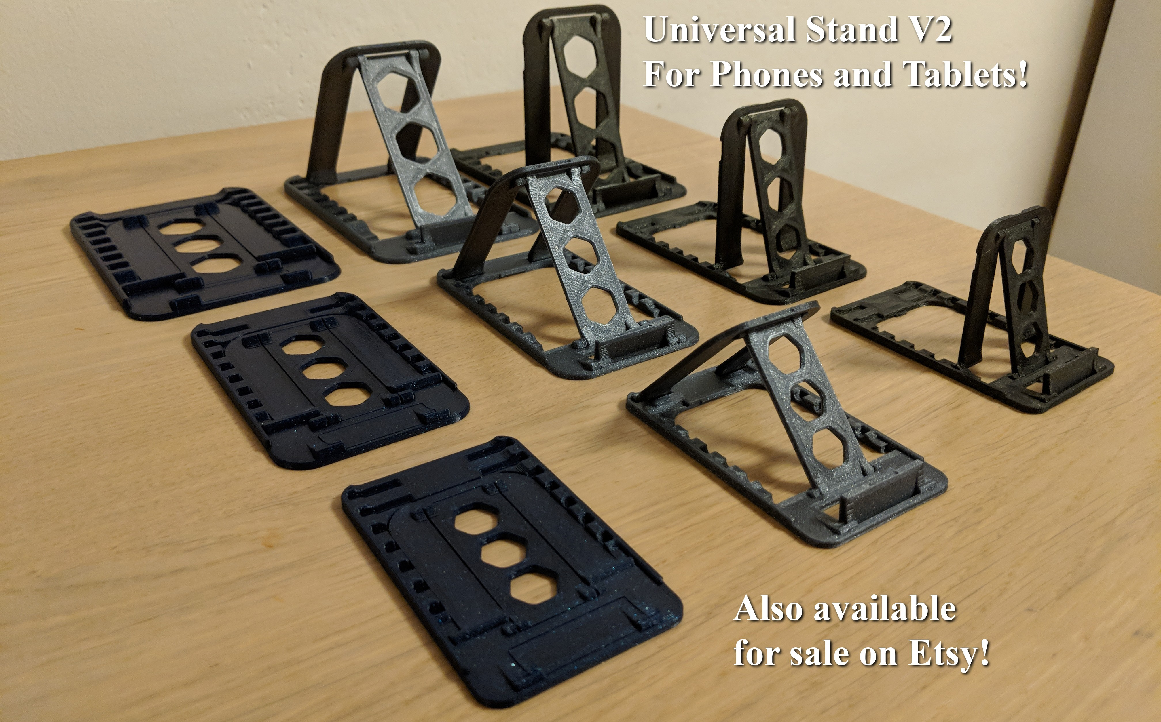 banner_pic_alt.jpg Download STL file UNIVERSAL PHONE STAND (MEDIUM) - FLAT FOLD - PRINT IN PLACE - SUPER THIN • 3D printable template, JonniG