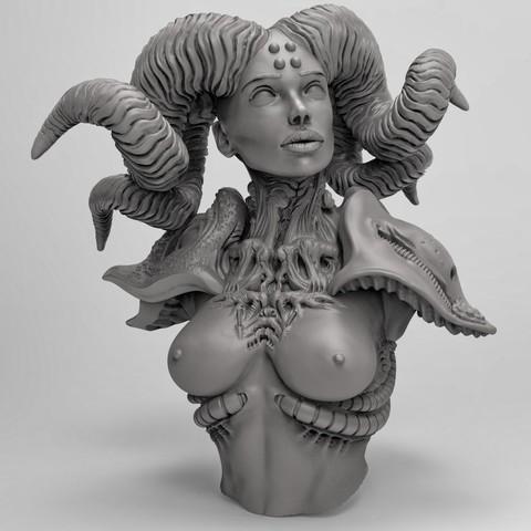Imprimir en 3D gratis Hembra con cuernos, duncanshadow