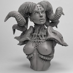 Free 3D printer model Horned female, duncanshadow