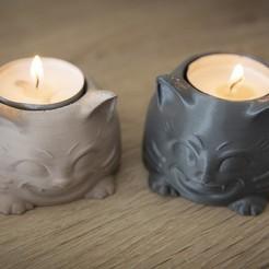Descargar Modelos 3D para imprimir gratis Bonito portavelas para gatos, Polysculpt