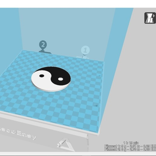 Download free STL files Yin Yang - Bi-Couleur, ZebOctets