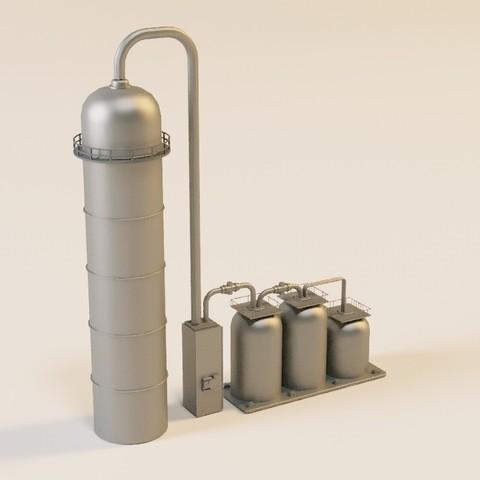 Download STL file Gas silo in n for model train, jeanmichelp