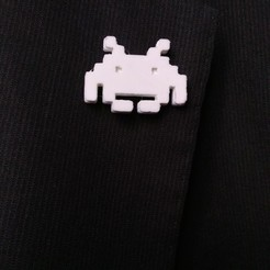 Download free STL Space Invaders lapel pin, sergioinglese