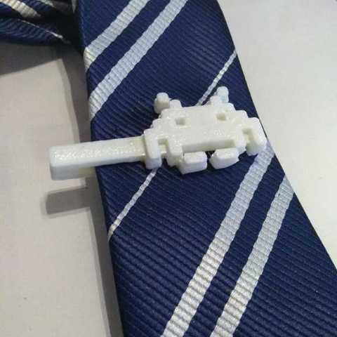 Free 3d printer model Space Invaders Tie Clip, sergioinglese