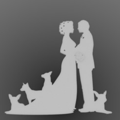 casado con perros.jpg Download STL file topper wedding with dogs • 3D printable template, sebastiandavidsalas