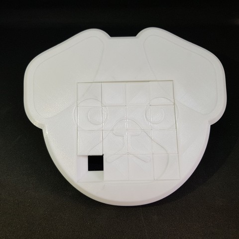 Free 3D print files 4x4 Dog sliding puzzle, mingyew