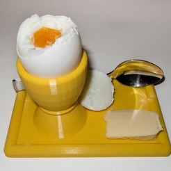 Download free 3D printer templates Egg cup with plate and spoonholder, Jakwit