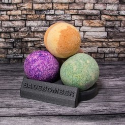 Free 3D model Bath bomb stand (file includes english text), Jakwit