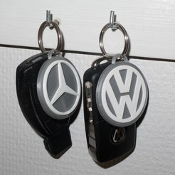 Free 3D printer designs Mercedes Benz and Volkswagen keychain, Jakwit
