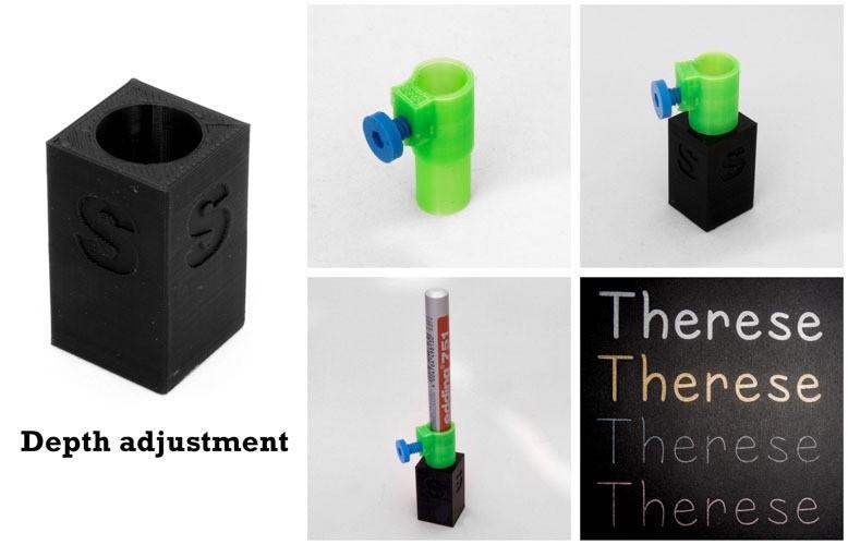 Depth_adjustment-1_display_large.jpg Download free STL file Depth adjustment (for the Silhouette Cameo Pen Holder) • 3D print design, Jakwit