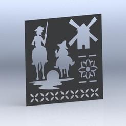 Plantilla Don Quijote y Sancho Panza 2 (Material PLA 3D 850).JPG Download STL file Don Quixote template (Stencil) • Object to 3D print, juanreina2