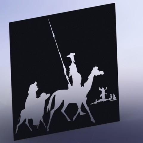 Descargar diseños 3D Plantilla Don Quijote y Sancho Panza (Stencil), juanreina2