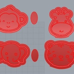 Download 3D printer model JUNGLE MONKEY, CUTTER, FRAME COOKIE CUTTER, FONDANT CUTTER, COOKIE CUTTER, EDIBLE PASTAS, COLD PORCELAIN AND/OR CERAMIC., crcreaciones3d