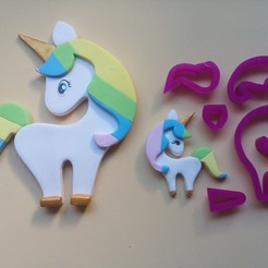 Download free STL Unicorn, Pony, Fondant Cutter, Edible Pastes, Cold Porcelain and Ceramics, crcreaciones3d