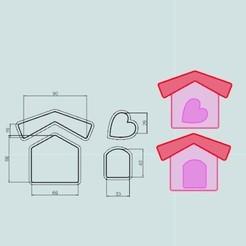 casa4piezas.jpg Télécharger fichier STL Cottage, Cookie Cutter, Cookies Cutter. • Modèle imprimable en 3D, crcreaciones3d