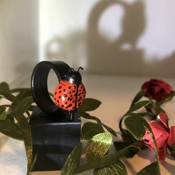 Download 3D printing templates Ladybug Ring, the3dcoder
