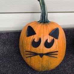Download free STL file Mr.Pumpkin Head/ Halloween Cat Pumpkin Face/ Kids Halloween Craft, the3dcoder