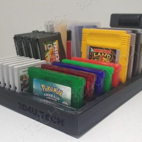 Free 3D printer model Gameboy Game Holder & Storage (Includes GB/GBA/3DS) , the3dcoder
