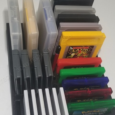 Download free 3D printer files Gameboy Game Holder & Storage (Includes GB/GBA/3DS) , the3dcoder