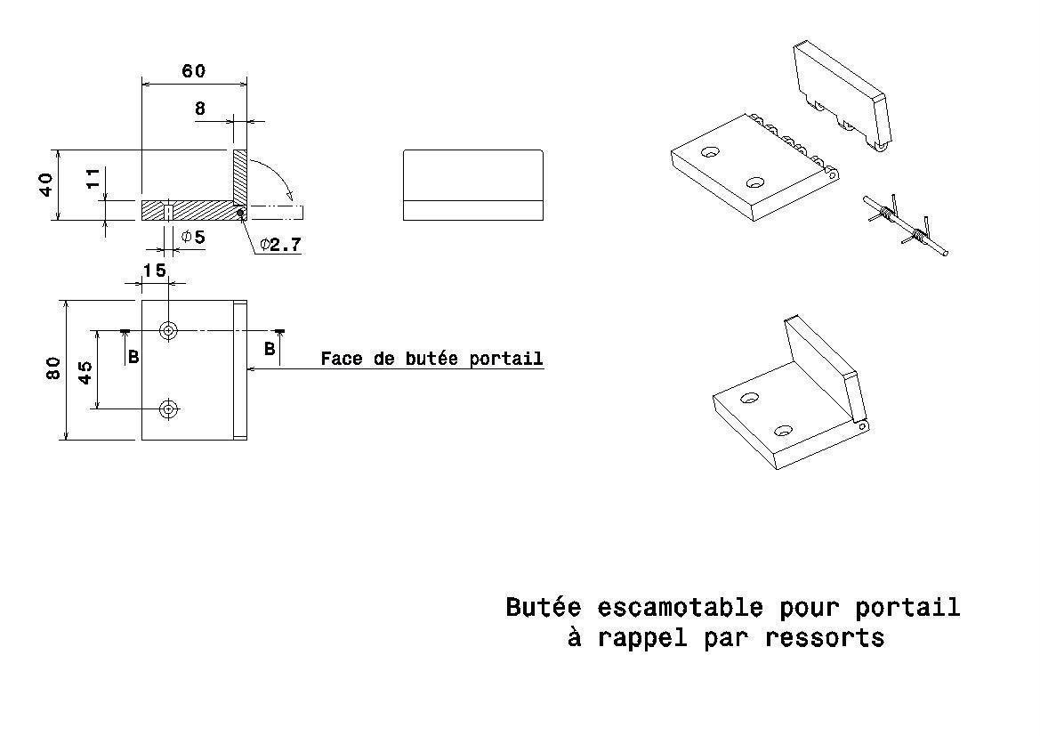 bute portail.jpg Download free STL file retractable spring return gate stop • 3D printer template, jpn3383