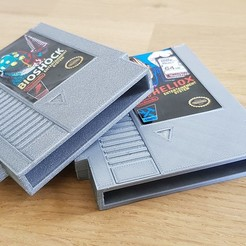 Download 3D printer model NES Cartridge - SD and MicroSD card storage, Heliox