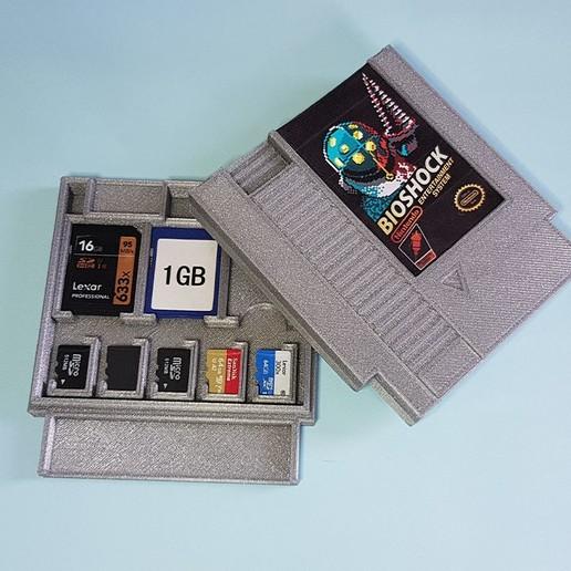 Télécharger objet 3D Cartouche NES - Rangement cartes SD et MicroSD, Heliox