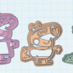 3D print files Peppa Pig, George Pigo & Dino Cookie Cutters, elganso