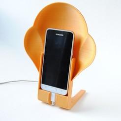 smartphonespeaker.jpg Download STL file Smartphone Stand Speaker and Charging Station • 3D printer design, iagoroddop