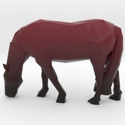 Impresiones 3D Low Poly Grazing Horse, iagoroddop