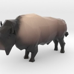 Impresiones 3D Low Poly Bison, iagoroddop
